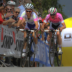 13-07-2014: Wielrennen: Giro d Italia vrouwen: Italie: <br /> Marianne Vos wins Giro Rosa for the 3th time. Here with teammate and number 2 in GC Pauline Ferrand Prevot