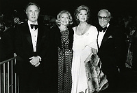 """1979 Ted Mann (left) and Rhonda Fleming (second from right) during the premiere of """"Hurricane"""" at Mann's Chinese Theater"""