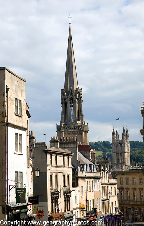 View of Georgian buildings and church spires, Broad Street, Bath, England