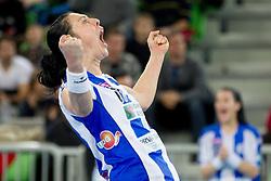 Bojana Popovic of Buducnost celebrates after the handball match between RK Krim Mercator and Buducnost Podgorica (MNE) in season 2011/2012 of EHF Women's Champions League, on February 24, 2012 in Arena Stozice, Ljubljana, Slovenia. Buducnost defeated Krim 27-26. (Photo By Vid Ponikvar / Sportida.com)