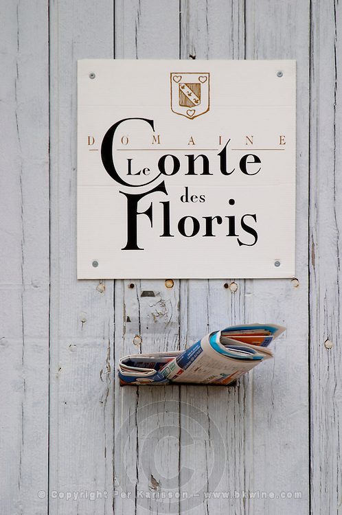 Domaine Le Conte des Floris, Caux. Pezenas region. Languedoc. A door. France. Europe. Letters in the letter box.