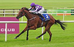 Hydrangea and Seamus Heffernan win the Loder European Breeders Fund Fillies Race at Curragh Racecourse, Co. Kildare, Ireland.