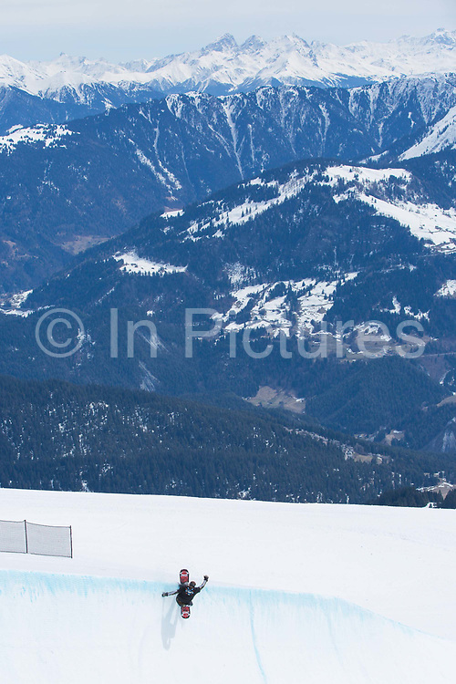 GB Park and Pipe and olympic snowboarder Rowan Coultas during the The Brits ski and snowboard championship on the 6th April 2018 in Laax Ski Resort, Switzerland. The Brits is a national championships sanctioned by British Ski & Snowboard