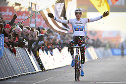 December 26, 2018 - Heusden-Zolder, BELGIUM - Dutch Mathieu Van Der Poel celebrates as he crosses the finish line to win the men Elite race of the seventh stage (out of nine) in the World Cup cyclocross, Wednesday 26 December 2018 in Heusden-Zolder, Belgium. BELGA PHOTO DAVID STOCKMAN (Credit Image: © David Stockman/Belga via ZUMA Press)