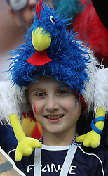 MOSCOW, July 15, 2018  A fan of France is seen prior to the 2018 FIFA World Cup final match between France and Croatia in Moscow, Russia, July 15, 2018. (Credit Image: © Fei Maohua/Xinhua via ZUMA Wire)