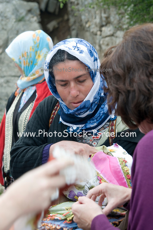 Turkey, Antalya, Koprulu River Canyon, The small village of Selge, Local villagers selling trinkets to tourists