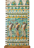 Coloured glazed terracotta brick panels depicting Achaemenid Persian royal bodyguards or archers. From the reign of Darius 1st and the First Persian or Achaemenid Empire around 510 BC excavated from the Palace of Daius 1st. Susa was one of the residential cities of the Achaemenid Kings. The Palaces are noteworthy for their elaborate decorations which can be considered exemplary of art at a royal court. The walls of Darius's palace at Susa were embellished with colourful reliefs made from glazed bricks on the Babylonian model. It is not certain which rooms of the palace was decorated with representations of a procession of royal bodyguards or archers, dressed in richly decorative costumes.  The Vorderasiatisches Museum, part of the Pergamon Museum, Berlin .<br /> <br /> If you prefer to buy from our ALAMY PHOTO LIBRARY  Collection visit : https://www.alamy.com/portfolio/paul-williams-funkystock/persian-antiquities.html  <br /> <br /> Visit our ANCIENT WORLD PHOTO COLLECTIONS for more photos to download or buy as wall art prints https://funkystock.photoshelter.com/gallery-collection/Ancient-World-Art-Antiquities-Historic-Sites-Pictures-Images-of/C00006u26yqSkDOM