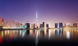 Night view of skyline of new Business Bay district in Dubai United Arab Emirates