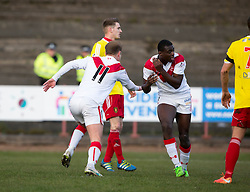 Airdrie's Iain Russell scoring their second goal. Half time : Albion Rover 0 v 2 Airdrie, Scottish League 1 game played 5/11/2016 at Cliftonhill.