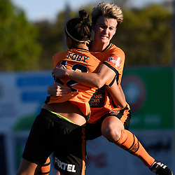 BRISBANE, AUSTRALIA - OCTOBER 30: Maili Forbes of the Roar celebrates Allira Toby scoring a goal during the round 1 Westfield W-League match between the Brisbane Roar and Sydney FC at Spencer Park on November 5, 2016 in Brisbane, Australia. (Photo by Patrick Kearney/Brisbane Roar)