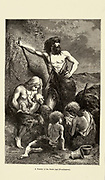 A family in the stone age according to the French illustrator Emile Bayard (1837-1891), illustration Artwork published in Primitive Man by Louis Figuier (1819-1894), Published in London by Chapman and Hall 193 Piccadilly in 1870