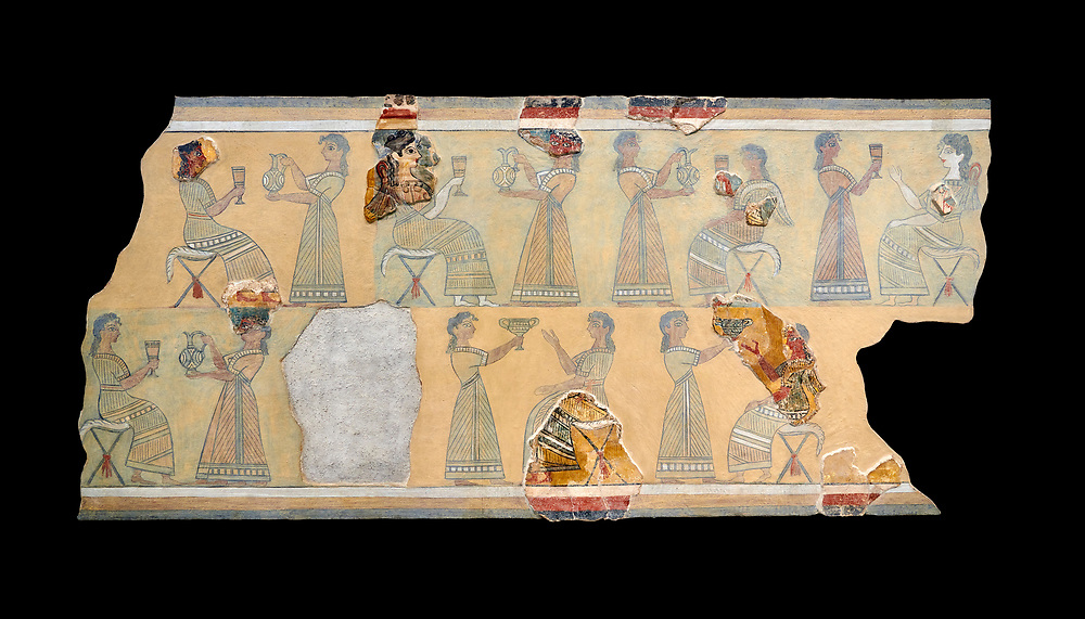 The Minoan ' Camp Stool' wall art fresco from the West vwing of Knossos Palace, 1450-1300 BC. Heraklion Archaeological Museum. Black Background. <br /> <br /> This Minoan fresco probably depicted a typical banquet at Knossos Palace held in the Upper Hall of the West Wing. Figures seated on 'camp stools' are raising cups and kylikes. A female figure with Mediterranean features wearing vivid make up named ' La Parisienne' by Arthur Evans, has a large 'sacred knot' bunched behind her head and maybe she was a priestess. .<br /> <br /> If you prefer to buy from our ALAMY PHOTO LIBRARY  Collection visit : https://www.alamy.com/portfolio/paul-williams-funkystock/minoan-art-artefacts.html . Type -   Heraklion   - into the LOWER SEARCH WITHIN GALLERY box. Refine search by adding background colour, place, museum etc<br /> <br /> Visit our MINOAN ART PHOTO COLLECTIONS for more photos to download  as wall art prints https://funkystock.photoshelter.com/gallery-collection/Ancient-Minoans-Art-Artefacts-Antiquities-Historic-Places-Pictures-Images-of/C0000ricT2SU_M9w