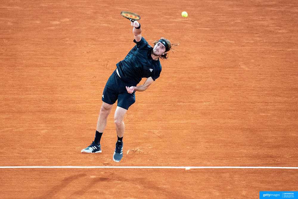 PARIS, FRANCE October 09.  Stefanos Tsitipas of Greece in action against Novak Djokovic of Serbia in the Semi Finals of the singles competition on Court Philippe-Chatrier during the French Open Tennis Tournament at Roland Garros on October 9th 2020 in Paris, France. (Photo by Tim Clayton/Corbis via Getty Images)