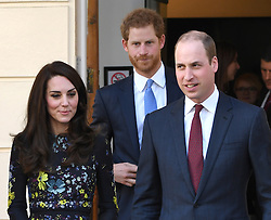 The Duke and Duchess of Cambridge along with Prince Harry arriving at the ICA for a Heads Together charity London Marathon event, London.<br /> <br /> Photo credit should read: Doug Peters/EMPICS Entertainment