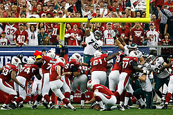18 Jan 2009: Philadelphia Eagles defensive end Juqua Parker #75 jumps to block a field goal attempt during the NFC Championship game against the Arizona Cardinals on January 18th, 2009. The Cardinals won 32-25 at University of Phoenix Stadium in Glendale, Arizona. (Photo by Brian Garfinkel)
