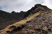 Approaching the summit of Bruach na Frithe, one of the munro peaks within the Cuillin Range on the Isle of Skye, near Sligachan,