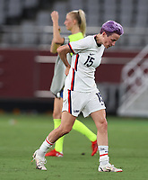 CHOFU, JAPAN - JULY 21: Megan Rapinoe of United States reacts in the Women's First Round Group G match between Sweden and United States during the Tokyo 2020 Olympic Games at Tokyo Stadium on July 21, 2021 in Chofu, Tokyo, Japan. <br /> <br /> Credit :COLORSPORT/Ian MacNicol