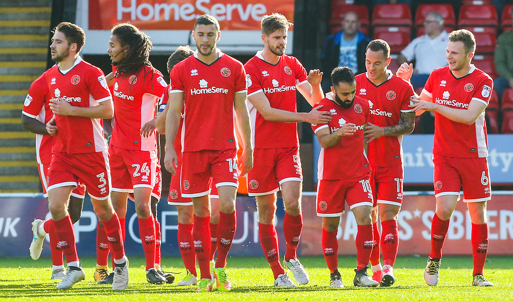 Walsall's Erhun Oztumer (3rd right) celebrates scoring the opening goal with teammates<br /> <br /> Photographer Alex Dodd/CameraSport<br /> <br /> The EFL Sky Bet League One - Walsall v Blackpool - Saturday 14th October 2017 - Bescot Stadium - Walsall<br /> <br /> World Copyright © 2017 CameraSport. All rights reserved. 43 Linden Ave. Countesthorpe. Leicester. England. LE8 5PG - Tel: +44 (0) 116 277 4147 - admin@camerasport.com - www.camerasport.com
