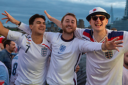 © Licensed to London News Pictures. 03/07/2021. London, UK. Football fans gather at the 'Skylight - Rooftop Bar' in London's Tobacco Dock for the England v Ukraine EURO 2020 Quarter Final match played at Stadio Olimpico in Rome. Photo credit: Peter Manning/LNP