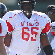 Cyrus Kouandjio during the practice session at the Walt Disney Wide World of Sports Complex in preparation for the Under Armour All-America high school football game on December 3, 2011 in Lake Buena Vista, Florida. (AP Photo/Alex Menendez)