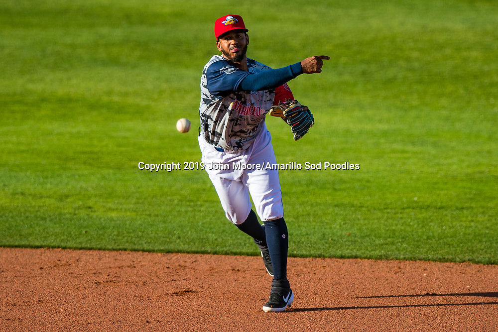 Amarillo Sod Poodles infielder Ivan Castillo (2) throws the ball against the Corpus Christi Hooks on Saturday, June 29, 2019, at HODGETOWN in Amarillo, Texas. [Photo by John Moore/Amarillo Sod Poodles]