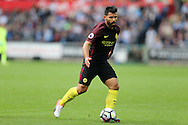 Sergio Aguero of Manchester city in action. Premier league match, Swansea city v Manchester city at the Liberty Stadium in Swansea, South Wales on Saturday 24th September 2016.<br /> pic by Andrew Orchard, Andrew Orchard sports photography.