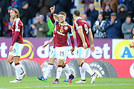 Johann Gudmundsson of Burnley  © raises his hand to celebrate after scoring his teams 2nd goal. Premier League match, Burnley v Crystal Palace at Turf Moor in Burnley , Lancs on Saturday 5th November 2016.<br /> pic by Chris Stading, Andrew Orchard sports photography.