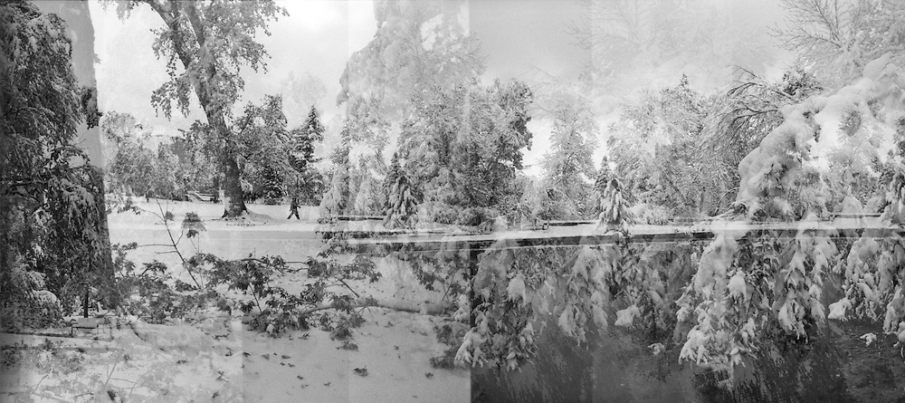 Multiple exposure panorama of the University of Colorado campus covered in snow in Boulder, Colorado.