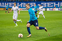 ST PETERSBURG, RUSSIA - OCTOBER 19, 2017. UEFA Europa League group stage: Zenit St Petersburg (Russia) 3 – 1 Rosenborg BK (Norway). Rosenborg's Vegar Hedenstad (L) and Zenit St Petersburg's Aleksander Kokorin (R).