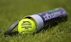 A tin of Slazenger tennis balls on day four of the Wimbledon Championships at the All England Lawn Tennis and Croquet Club, Wimbledon. PRESS ASSOCIATION Photo. Picture date: Thursday July 6, 2017. See PA story TENNIS Wimbledon. Photo credit should read: Philip Toscano/PA Wire. RESTRICTIONS: Editorial use only. No commercial use without prior written consent of the AELTC. Still image use only - no moving images to emulate broadcast. No superimposing or removal of sponsor/ad logos.