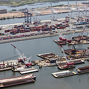 Aerial footage of Port Newark captured from a helicopter during the Coronavirus (Covid-19) outbreak on Monday, June 1, 2020 in New York City. (Alex Menendez via AP)