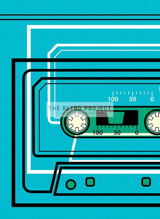 Mid Century Scandinavian Cassette Tape Sound System Music illustration retro design by Hedvig Desh