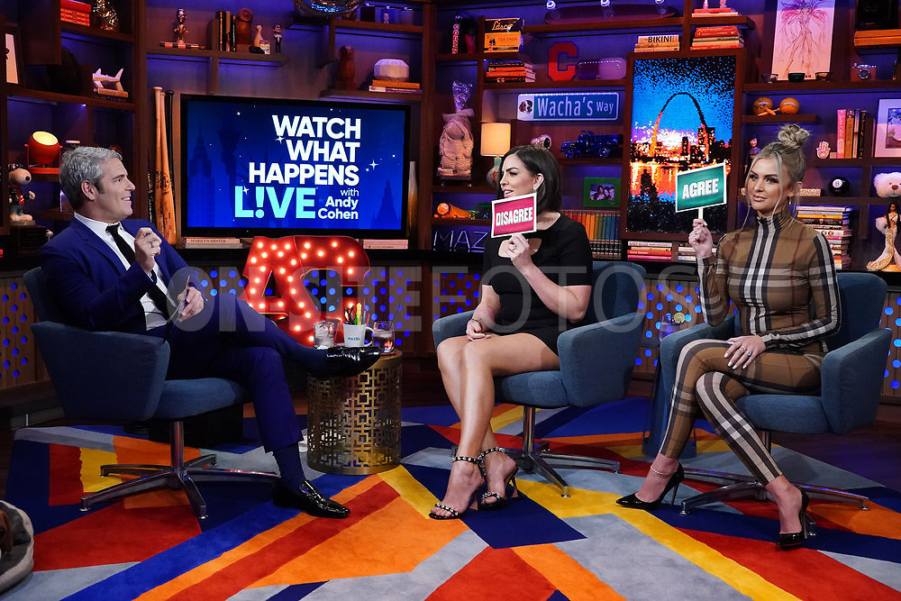WATCH WHAT HAPPENS LIVE WITH ANDY COHEN -- Episode 18160 -- Pictured: (l-r) Andy Cohen, Katie Maloney-Schwartz, Lala Kent -- (Photo by: Charles Sykes/Bravo)