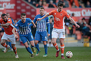 Jordan Flores (Blackpool) about to strike the ball during the EFL Sky Bet League 2 match between Blackpool and Hartlepool United at Bloomfield Road, Blackpool, England on 25 March 2017. Photo by Mark P Doherty.