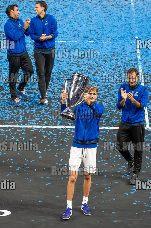 GENEVA, SWITZERLAND - SEPTEMBER 22: Alexander Zverev of Team Europe celebrates with the trophy during Day 3 of the Laver Cup 2019 at Palexpo on September 20, 2019 in Geneva, Switzerland. The Laver Cup will see six players from the rest of the World competing against their counterparts from Europe. Team World is captained by John McEnroe and Team Europe is captained by Bjorn Borg. The tournament runs from September 20-22. (Photo by Monika Majer/RvS.Media)