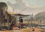 Boers [Here as Boors] Resting for the night after a day's travel to Cape Town hand colored plate from the collection of  ' African scenery and animals ' by Daniell, Samuel, 1775-1811 and Daniell, William, 1769-1837 published 1804