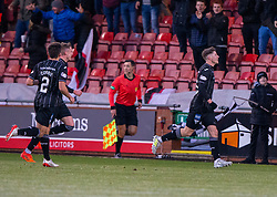Dunfermline's Kevin Nisbet celebrates after scoring their fourth goal. half time : Dunfermline 4 v 0 Partick Thistle, Scottish Championship game played 30/11/2019 at Dunfermline's home ground, East End Park.