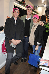 Left to right, MAX SLEE, CHARLIE ASTOR and his sister EMILY WILLI at the launch party for the Vicomte A boutique in London at 113 King's Road, London SW3 on 13th December 2012.