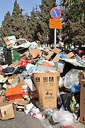 Israel, Jerusalem, Garbage piling up in the street during a municipal strike