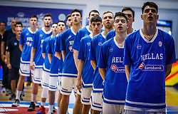 Team Greece listening to the National anthem during basketball match between National teams of Greece and Slovenia in the Group Phase C of FIBA U18 European Championship 2019, on July 29, 2019 in  Nea Ionia Hall, Volos, Greece. Photo by Vid Ponikvar / Sportida