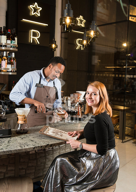 Evening Standard features writer Rachel Sigee with Eyob Taye from  Starbucks Reserve, London. <br /> Picture by Daniel Hambury/Stella Pictures Ltd +44 7813 022858<br /> 09/11/2015
