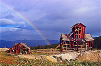 Rainbow over the historic Little Bob Mine.  Once produced 1oz. of gold and 50-54 ozs of silver per ton of ore.  Near Leadville Colorado.  The old mine is no longer standing.   Over the years the heavy snow has crushed the mine.
