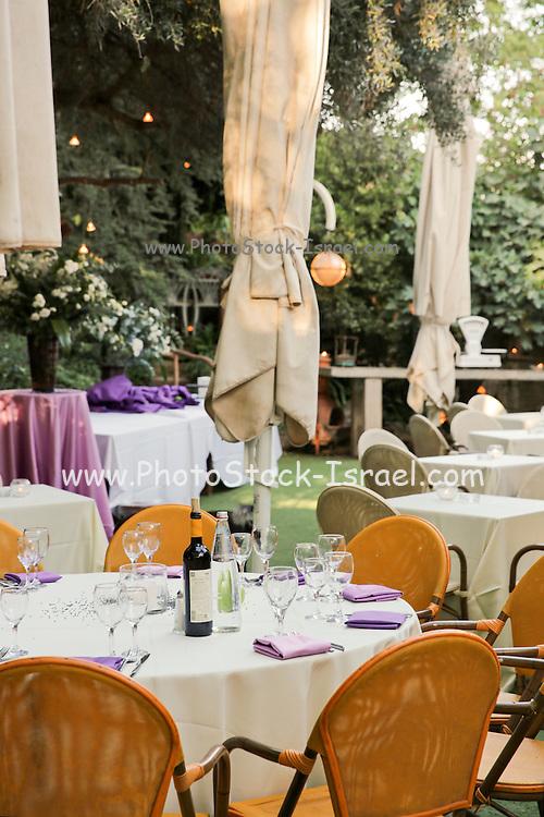 Formal garden party reception setting