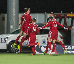 Aberdeen's Shaughnessy celebrates with team mates after scoring their first goal.<br /> Falkirk 0 v 5 Aberdeen, the third round of the Scottish League Cup.<br /> ©Michael Schofield.
