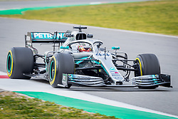 February 19, 2019 - Montmelo, Barcelona, Spain - Barcelona-Catalunya Circuit, Montmelo, Catalonia, Spain - 19/02/2018: Lewis Hamilton of Mercedes AMG Petronas Formula One Team with new W10 car during second journey of F1 Test Days in Montmelo circuit. (Credit Image: © Javier Martinez De La Puente/SOPA Images via ZUMA Wire)