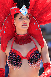 September 14, 2018 - Las Vegas, NV, U.S. - LAS VEGAS, NV - SEPTEMBER 14: A Las Vegas Showgirl performs in the Neon Garage during practice for the DC Solar 300 NASCAR Xfinity Series Playoff Race on September 14, 2018, at Las Vegas Motor Speedway in Las Vegas, NV. (Photo by David Griffin/Icon Sportswire) (Credit Image: © David Griffin/Icon SMI via ZUMA Press)