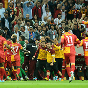 Galatasaray's players celebrate his goal during their Turkish Super League soccer match Galatasaray between Sivasspor at the AliSamiYen Spor Kompleksi TT Arena at Seyrantepe in Istanbul Turkey on Sunday 05 May 2013. Photo by TURKPIX