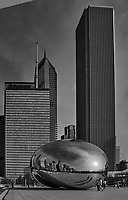 The Cloud Gate (also known as The Bean) in Millennium Park. Chicago, Illinois. Image taken with a Nikon D200 camera and 18-200 mm VR lens. Image processed with Capture One Pro (including conversion to B&W).