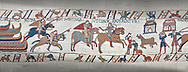 Bayeux Tapestry scene 40:  Norman soldiers ride to Hastings to make camp. .<br /> <br /> If you prefer you can also buy from our ALAMY PHOTO LIBRARY  Collection visit : https://www.alamy.com/portfolio/paul-williams-funkystock/bayeux-tapestry-medieval-art.html  if you know the scene number you want enter BXY followed bt the scene no into the SEARCH WITHIN GALLERY box  i.e BYX 22 for scene 22)<br /> <br />  Visit our MEDIEVAL ART PHOTO COLLECTIONS for more   photos  to download or buy as prints https://funkystock.photoshelter.com/gallery-collection/Medieval-Middle-Ages-Art-Artefacts-Antiquities-Pictures-Images-of/C0000YpKXiAHnG2k