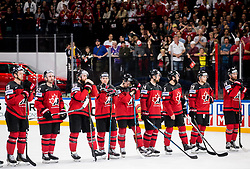 Players of Canada look dejected after the 2017 IIHF Men's World Championship group B Ice hockey match between National Teams of Canada and Switzerland, on May 13, 2017 in AccorHotels Arena in Paris, France. Photo by Vid Ponikvar / Sportida